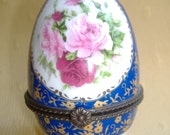 Limoges France Footed Porcelain Lidded Trinket Box Egg Cobalt Blue Gold Floral Collectible