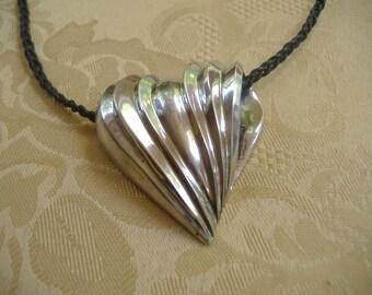Sterling Silver Large Heart Slider Pendant