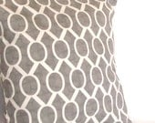 SALE Grey Decorative Throw Pillow Cover - Oval Links, 16x16 inch Sofa Toss Cushion Cover - Geometric Circles