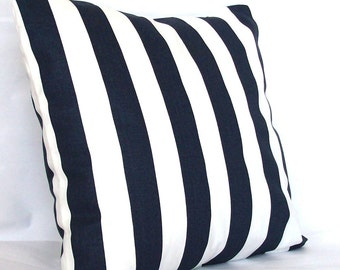 Navy Blue Cushion Cover, Optional Zipper - 18x18 or 20x20 inch Striped Decorative Pillow Cover - Dark Blue White Canopy Stripes