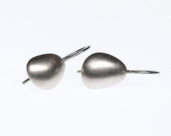 Silver Petal Hook Earrings