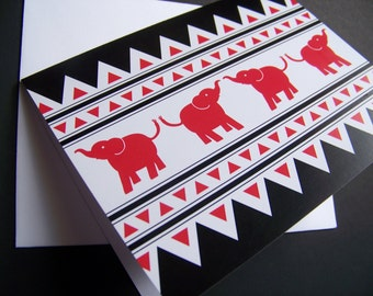 SALE Red and Black Elephant Note Cards: Set of 10