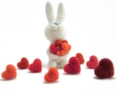 Needle felted bunny with bunch of hearts - felted rabbit  - Valentine's day gift - felted pin