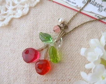 Cute Fused Glass  Necklace, Cherry,Cherry quartz,Freshwater pearl,Made To Order