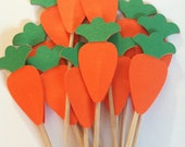 12 Carrot toppers, easter carrot toppers, cupcake toppers