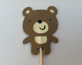 12 teddy bear cupcake toppers, bear food picks,  cupcake toppers