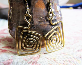 Square Spiral Wire Wrapped Brass Earrings
