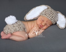 Crochet Baby Hat Easter Bunny Rabbit Ears Photo Prop Diaper Cover Floppy Ear Outfit