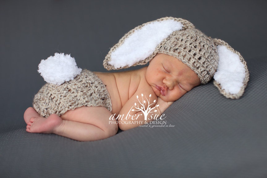 Free Crochet Pattern For Bunny Ears And Diaper Cover : Crochet Baby Hat Easter Bunny Rabbit Ears Photo Prop Diaper