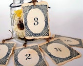 Party Table Numbers , Shabby Chic, Rustic Numbers, Wedding Centerpiece, Rustic, French Country - Black ,1-10