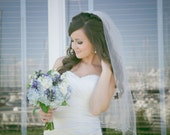 "Veil with pearls one tier wedding veil 32inch veil white wedding veil with pearls bridal veil  ""Gracie"""