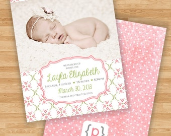 Baby Girl Birth Announcement - Coral Pink and Spring Green