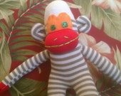 Baby Punch mini sock monkey stripped stuffed animal handmade