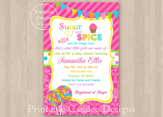 sugar and spice baby shower invitation diy custom printable