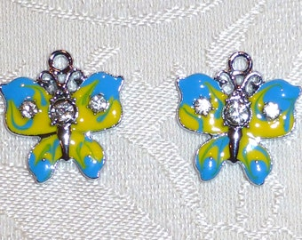 Fancy 23mm x 22mm Silver Metal with Enamel Butterfly Charms- Pendants with Crystals- Set of TWO