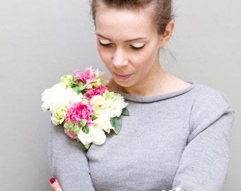 Grey wool knitwear women sweater jumper top warm with fabric flowers pin fashion clothing