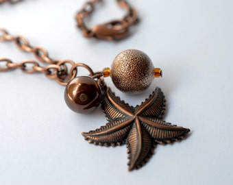 Starfish, Chocolate Pearl Cluster Copper Necklace - 19 inches