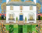 John Keats - Greeting Card - Keats House - Autumn - Thrush - Naive - Collage - English Literature - Writer's House - Garden - Ode to Autumn