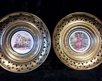 Brass Filigree Pictures With Bone China Insert From England