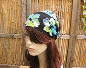 Floral Gypsy Head Wrap Fabric Headband Womens Headband Boho Head Wrap Blue and Green Bohemian Bandana Hair Accessory Womens Gift for Her