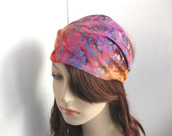 Colorful Paradise Sunset Womens Headband Batik Headband Hippie Headband Yoga Head Wrap Womens Gypsy Bandana Festival Womens Gift for Her