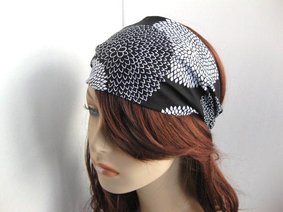 Fabric Headband Women's Yoga Head Wrap Gypsy Headwrap Black and White Dahlia Floral Bandana Hair Accessory