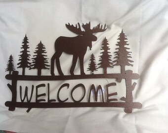 Welcome Moose / Pine Bough Welcome Sign Series