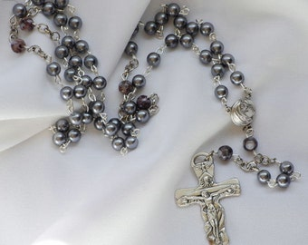 Silver Pearl Rosary