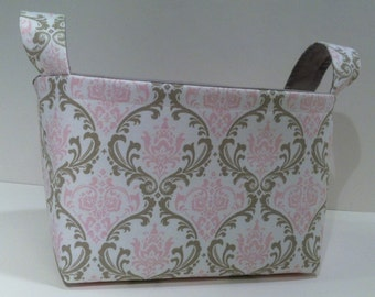Fabric Storage Basket Bin Organizer Storage Container- Pink and Taupe Damask Print with Solid Light Gray Interior