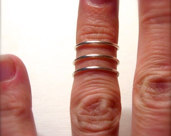 SOLID STERLING SILVER set of 3 Knuckle or Mid Finger rings,  stacking set Please specify size