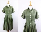 1950s shirtwaist dress / vintage 50s olive green shirtdress / i. magnin dress