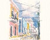 """5""""x 7"""" Watercolor Sketch Print: """"Calle San Sebastián"""" - by Luis E. Aparicio"""