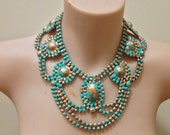 "Hand-painted ""Etherial"" turquoise and gold rhinestone bib necklace"