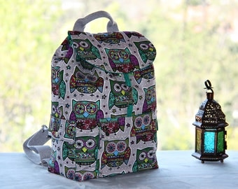 Retro Owls Prints Backpack/ Large Backpack/Travel,School,Daily Backpack/ Rucksack /Cotton /Cute Owls