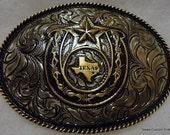 Hand Engraved  State of Texas Trophy Buckle with Horseshoe, Barbed Wire and Star
