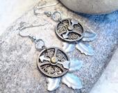 Steampunk Earrings, Leaf Dangle Mixed Metal, Industrial