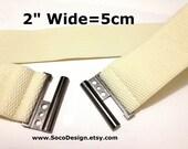 "Beige Cream Ivory Waist Belt, Stretch Belt, Elastic Belt, Cinch Elastic Belt 2"" wide ( 50mm ), plus size belt available W039"