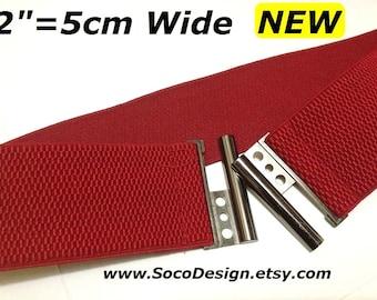 """Red Elastic belt, Stretch belt, cinch belt, waist cinch belt, Waist belt 2"""", plus size belt, plus sized belt, waist belt, belt"""