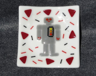 Fused Glass Robot Dish - BHS02438