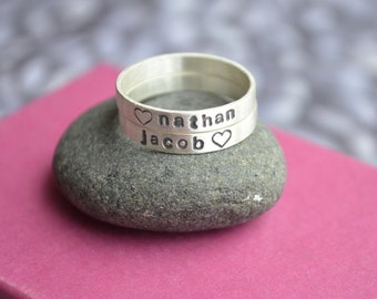 Personalized Stacking Name Ring Set with Hearts in Sterling Silver