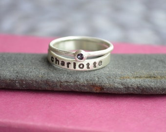 Mother's Birthstone and Name Ring Stacking Set in Sterling Silver, Stacking birthstone and name rings