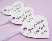 50 Personalised Heart Tags - Customized Wording - Wedding, Wishing Tree, Favors, Table Decor