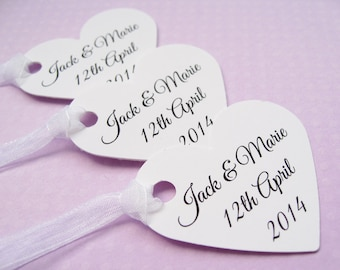 25 Personalised Heart Tags - Customized Wording - Wedding, Wishing Tree, Favors, Table Decor