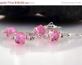 50% off Pink crackle silver wire wrapped earrings Beadtriss Lane READY to SHIP Bridal gift girlfriends