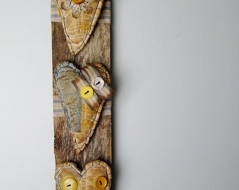 PRIMITIVE Cutter Quilt Hearts on RECLAIMED WOOD - Blue & Yellow Wall Hanging