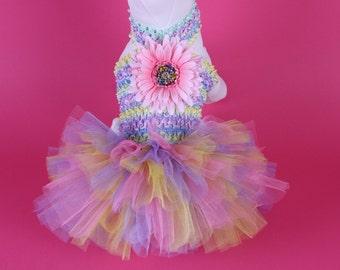 EASTER -- Pastel Pink Daisy DOG TUTU Dress