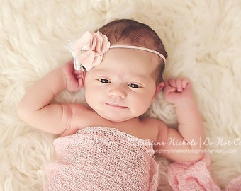 Tori-More colors-Pink Felt Flower Headband with Lace Bow