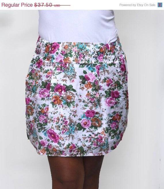 White Mini Skirt in Pink Floral - Summer Fashion Skirt