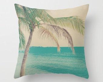 Pillow cover, beach pillow, beach art, ocean pillow, aqua pillow, turquoise pillow, ivory pillow, nautical nursery,vintage pillow,love