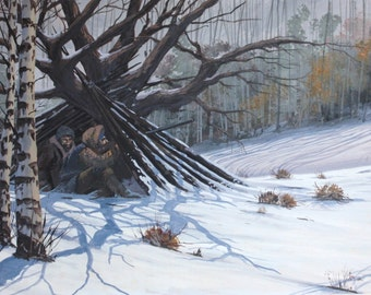 "Winter snow painting Hunters Hunting ""The Blind"" Original vintage painting Mike Miller signed art"
